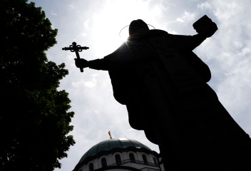 Monument of St. Sava is seen in front of the temple during Good Friday in Belgrade