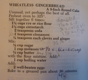 Wheatless Gingerbread in Joy
