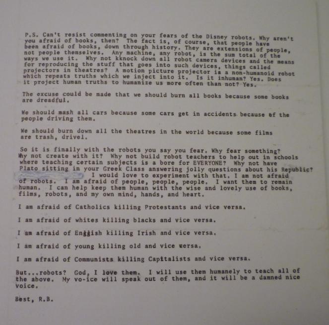Ray Bradbury letter - robots