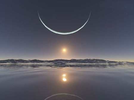 moon north-pole sunset