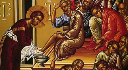Christ washing feet of disciples